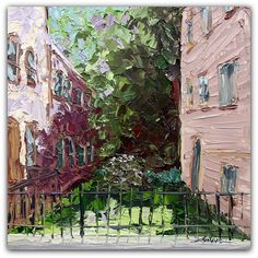 "Urban Garden 14"" x 14"" Palette Knife Oil"