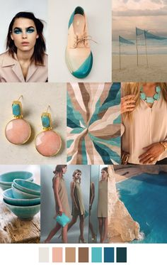 GROTTO BAY turquoise and dusty pink / Quartz mood board / collage