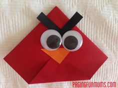Angry Birds Origami Book Mark! My 8 year old and I made these for a school project. They were quick and easy. She needed a little help with the folding, but they worked out well.