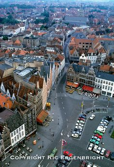 Rooftops and roads are all in view from the Tower in Bruges, Belgium. ©Ric Ergenbright