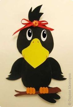 fall crafts for toddlers crow craft idea Fall Paper Crafts, Bird Crafts, Autumn Crafts, Autumn Art, Foam Crafts, Animal Crafts, Autumn Theme, Arts And Crafts, Autumn Ideas