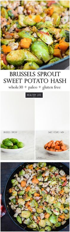 Brussels Sprout Sweet Potato Hash is not only uber healthy but packed full of spicy flavor.  You can enjoy this recipe for breakfast or a great hardy dinner.  - A Healthy Life For Me