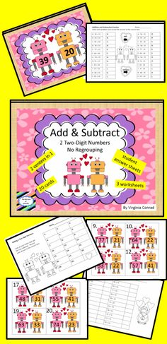 Valentine's Day add/subtract with robots---fun, fun, fun!  Get it here http://www.teacherspayteachers.com/Product/Add-Subtract-Two-Digit-Numbers-no-regrouping-robot-theme-1055687