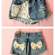 High waisted shorts with lace.