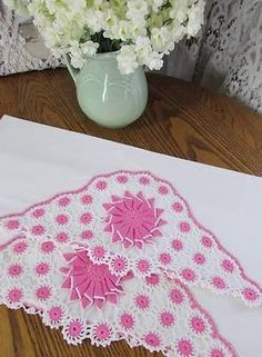 Vintage Romantic Cottage Home Pink White Pillowcases Lush Crochet Lace | eBay Vintageblessings