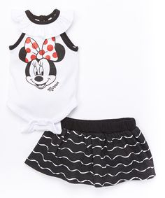 Another great find on #zulily! White & Black Minnie Mouse Bodysuit & Skirt - Infant by Disney Baby #zulilyfinds