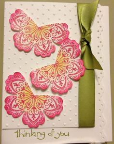 handmade card ... Mixed Bunch flower cut to look like butterflies ... put in a body, maybe of pearls, to make them look moreso ...like the coloring and the positiong of the three butterflies ... Stampin' Up!