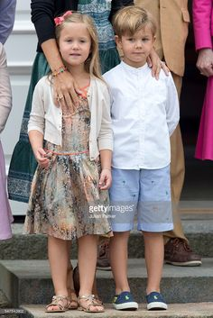 Princess Josephine, and Prince Vincent of Denmark, attend the annual summer photo call for The Danish Royal Family at Grasten Castle, on…