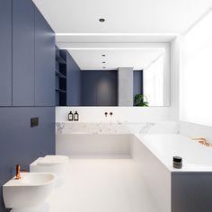 Innenarchitektur:Mooi Blauwe Badkamer Chique Moderne Badkamer Met Kleuren Wit Blauw Koper En Marmer blauwe badkamer