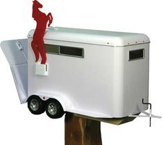 Horse Trailer Metal Mail Box with Rearing Horse Flag