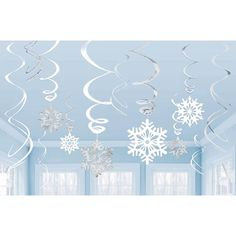 Recreate a winter scene with this white and silver foil swirl decorating kit.  Includes 6 24 inch swirls with foil cutouts, and 6 18 inch swirls only.