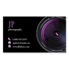 Professional Photographer Camera Lens Business Cards. This great business card design is available for customization. All text style, colors, sizes can be modified to fit your needs. Just click the image to learn more!