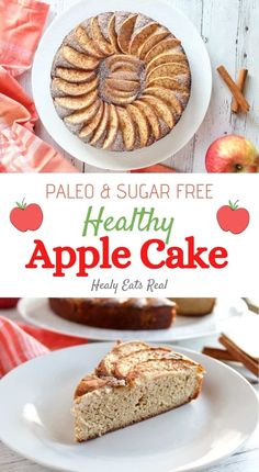 Healthy Apple Cake (Paleo, Low Carb & Sugar Free) This healthy apple cake is slightly sweet, moist and fluffy with hints of cinnamon. It's the perfect paleo, gluten free and sugar free dessert for holidays or any occasion. via Healy Eats Real Healthy Apple Cake, Moist Apple Cake, Easy Apple Cake, Fresh Apple Cake, Apple Cake Recipes, Healthy Baking, Paleo Dessert, Healthy Desserts, Dessert Recipes