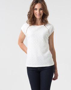 Tee-shirt écru avec dentelle Porcelaine 1 1.2.3