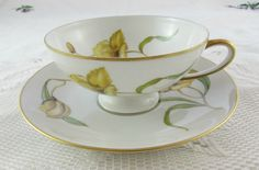 Rosenthal Tea Cup and Saucer Hand Painted Yellow Orchid, Made in Germany