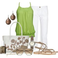 Cute vacation wear - you could switch out the green tank for other pops-of-colour tees.