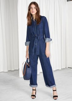 & Other Stories image 1 of Denim Overall Jumpsuit in Blue Dark Denim Playsuit, Denim Jumpsuit, Dungarees, Simple Outfits, Stylish Outfits, Style Bleu, Style Marocain, Denim Overall, Style Minimaliste