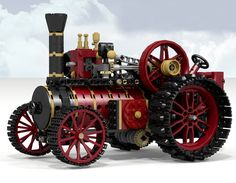 """Here comes the big, powerful Steam Tractor! It's a large model, approx. 12"""" long, loaded with Technic functions, just like the real thing. Watch the piston of the steam engine..."""