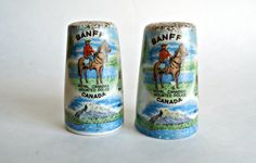 Salt and Pepper Vintage Banff Canada Royal Canadian Mounted Police by TreasureCoveAlly on Etsy