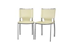 Montclare Ivory Leather Modern Dining Chair (Set of 2) | Wholesale Interiors