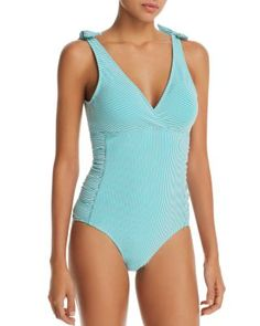 ISABELLA ROSE Womens Embroidered Smocked Keyhole Over The Shoulder One Piece Swimsuit