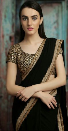 Need to know about quality Elegant Designer Indian Sari kind of like Elegant Design Saree and Blouse if so then CLICK VISIT link above to read Dress Indian Style, Indian Dresses, Indian Outfits, Saree Blouse Patterns, Saree Blouse Designs, Black Blouse Designs, Kurta Designs, Fancy Sarees, Party Wear Sarees