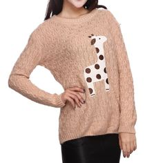 Cute Giraffe Embroidery Cloth Pullover Sweater Cute Giraffe, Fair Lady, Geek Out, Stand Tall, Image Shows, Latest Fashion Trends, Pullover Sweaters, Embroidery, Giraffes