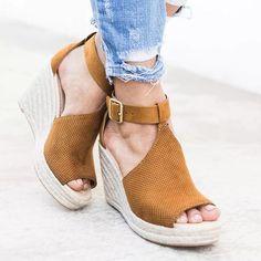 851473abba8 Shoes - Plus Size Summer Women Wedge Heels Peep Toe Sandal – Kaaum ...