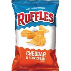 Frito Lays Ruffles Potato Chips Cheddar and Sour Cream Flavor Oz. Sour Cream Chips, Sour Cream Potatoes, Cheddar Potatoes, Creamed Potatoes, Crispy Potatoes, Churros, Sauerkraut, Fini Tubes, Ruffles Potato Chips