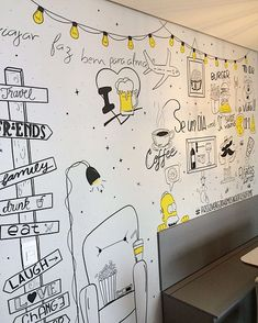 Wall Painting Decor, Mural Wall Art, Wall Paint Inspiration, Mural Cafe, Homer Simpson, Doodle Wall, Chalk Wall, Wall Drawing, Office Walls