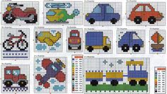 Gráficos de Ponto Cruz: Carrinhos, gráfico em ponto cruz para meninos Tiny Cross Stitch, Baby Cross Stitch Patterns, Cross Stitch For Kids, Cross Stitch Charts, Cross Stitch Designs, Kids Knitting Patterns, Knitting Charts, Baby Knitting, Graph Design