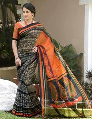 Black & Orange Color Bhagalpuri Festival & Function Sarees : Nirtika Collection YF-27411