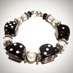 Handmade Dainty Black Dice Bracelet with by SmilingDogStudios