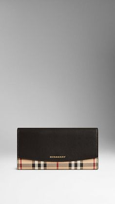 Leather and Haymarket Check Continental Wallet | Burberry