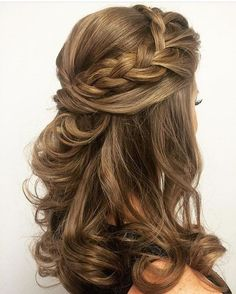 "like the curls and the way it's ""knotted"" in the back - bridesmaid"