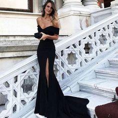 Sexy Leg Slit Long Mermaid Evening Dress Off Shoulder Prom Gowns Black Prom Dresses