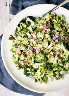 This salad is based on a recipe from Ripe, A Fresh Batch. I love almonds in mine and also the addition of  finely chopped bacon.