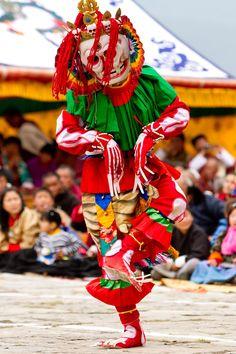 Festival dancer in Bumthang, Bhutan