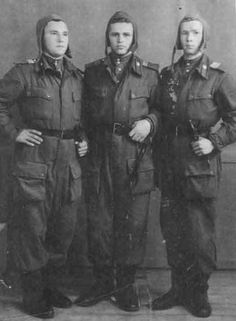 Portrait of three Soviet Ural Volunteer Tank Division tankers, circa 1943; note black NR-40 knives