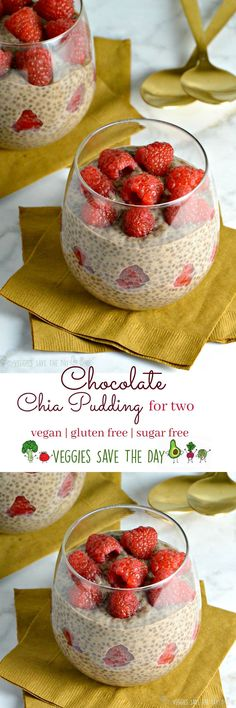 Chocolate Chia Pudding for two is perfect for breakfast, a snack, or dessert (especially Valentine's Day!) vegan, gluten free, sugar free