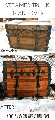 A Before & After of this antique steamer trunk by Jenni of Roots & Wings Furniture.