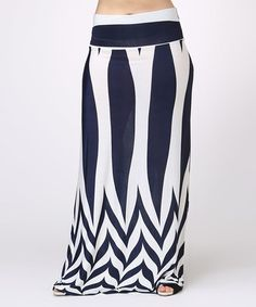 Love this Navy & White Abstract Maxi Skirt by BOLD & BEAUTIFUL on #zulily! #zulilyfinds