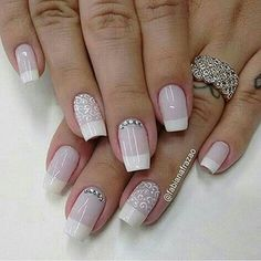 107 Designs of Elegant French Nails Decorated Easy to Learn How to Make French Manicure Step by Step Perfect Nails, Gorgeous Nails, Love Nails, Pretty Nails, Fun Nails, Bridal Nails, Wedding Nails, Wedding Makeup, French Nails