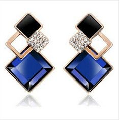 Famous Brand New Fashion brincos Jewelry Big Blue Crytal Earrings For Women Vintage earrings indian jewelry Earrings