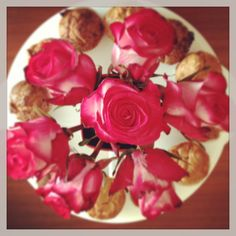 Good morning with muffins and flowers