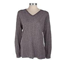 New Susan Graver PlushKnit Metallic Ribbed V-neck Tunic Sweater Peacock Blue 2X #SusanGraver #Tunic