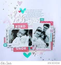 #papercrafting #scrapbook #layout: Adore You scrapbook layout by Jen Schow for Elle's Studio