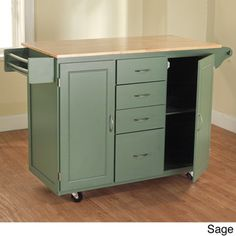 Simple Living Utility Wood Top Kitchen Cart