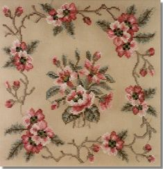 Beverley Trammed Tapestry: Pink Floral with Border