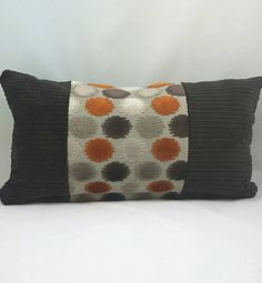 """Mid Century Modern Lumbar Cushion Cover. Chocolate Brown and rust velvet. Fits a 12"""" x 18"""" pillow insert."""
